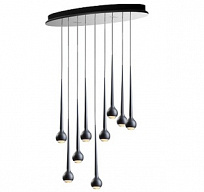 FALLING WATER 9 OVAL Светильник подвесной 126W (LED, 2900K), 110x40cm, h.6cm, matt black/black