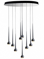 FALLING WATER 9 CLOUD Светильник подвесной 126W (LED, 2900K), 95x75cm, h.6cm, matt black/black